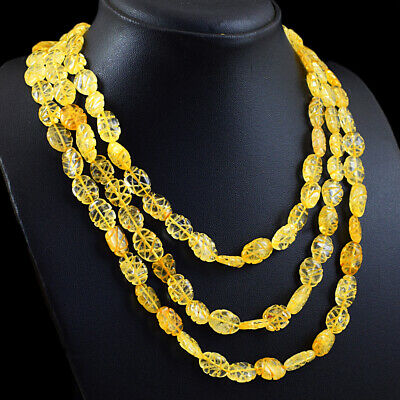 450.00 Cts Natural 3 Line Yellow Cirine Oval Carved Beads Necklace NK 50E113
