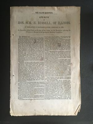 1850 Political SPEECH on SLAVERY William Bissell ILLINOIS Pre-CIVIL WAR Slaves