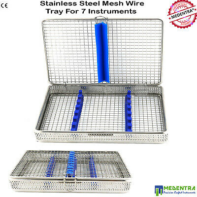 Sterilization Cassette Mesh Tray Holds 7 Dental Surgical Instruments Autoclave