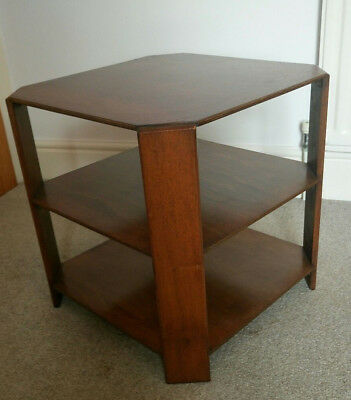 ART DECO 1930s OCTAGONAL OAK OCCASIONAL TABLE WITH SHELVES