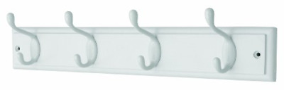 keypak 4-Hook Wall-Mounted Coat Rack, White