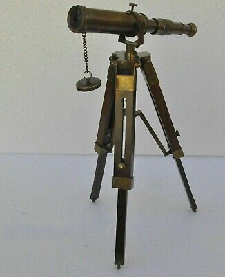 Nautical Antique Vintage Decorative Solid Brass Telescope with Wooden Tripod