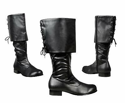 Mens Black Santa Claus Medieval Pirate Fancy Dress Costume Deluxe Boots Size 7.5