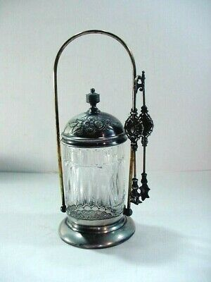 Antique Victorian Wilcox Silver Plate Glass Pickle Jar / Caster Jar & Tongs 0695