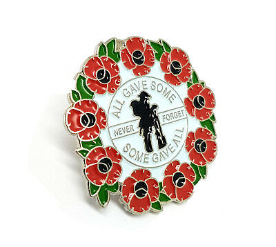 Remembrance Day Never Forget All Gave Some 3D Red Poppy Soldier Lapel Pin Badge