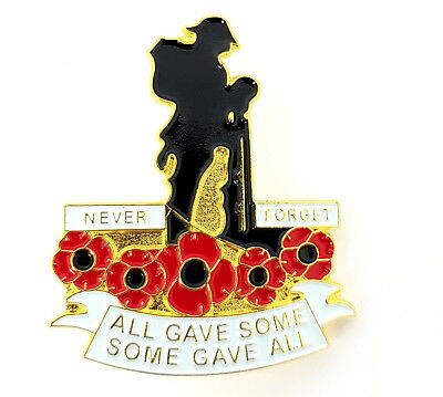 Never Forget All Gave Some Poppy Soldier Remembrance ArmisticDay Lapel Pin Badge