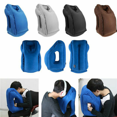 Inflatable Air Travel Pillow Airplane Neck Head Chin Cushion Office Nap