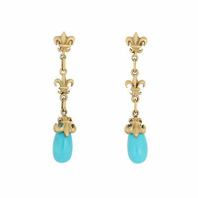 Turquoise Fleur de Lis Drop Earrings 18k Gold Estate Fine Jewelry Long Dangle