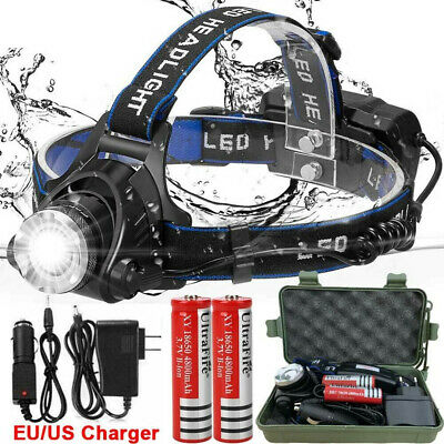 UK 90000LM 3 x XML CREE T6 LED Rechargeable Head Torch Headlamp Light Lamp