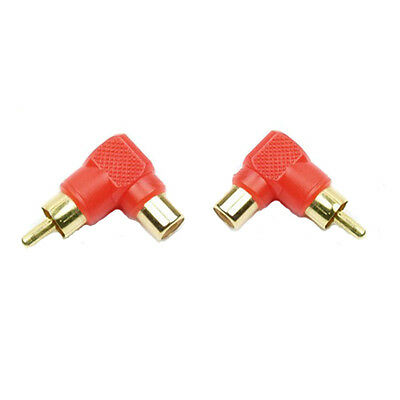 2x RCA Right Angle 90 Degree Male to Female Plug Socket Audio Video Adapter Gold
