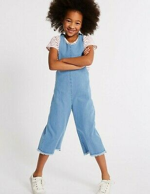 M&S Girls 2 Piece Denim Jumpsuit & Top Outfit Size 9-10 Years RRP £24