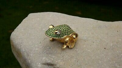 Vtg 1997 Estee Lauder White Linen Jeweled PRINCE CHARMING FROG Solid Perfume