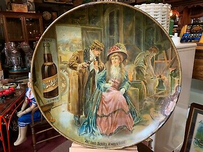 "24"" Early 1900's Schlitz Brewing Beer Tin Beer Sign  ""Watch Our Video"""