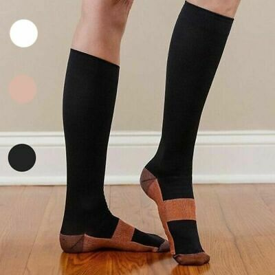 Men's Women's S-XXL Copper Infused Compression Socks N9S1 Graduated 20-30mm D0G6