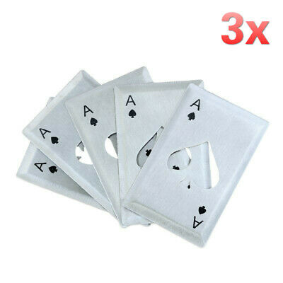 3pcs Metal Poker Ace Playing Cards Throwing Toy Wine Beer Drink Bottle Opener