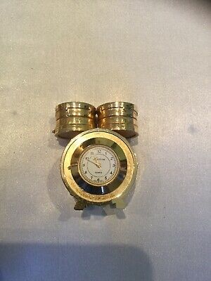 Minature Clock Goldplated On Brass Drums With Clock
