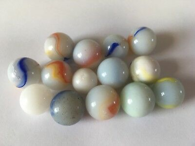 Vintage Marbles China / Glass Whites? x 14 in total