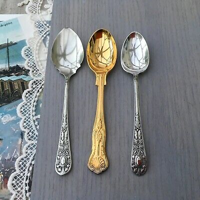ANTIQUE SPOONS x2 COFFEE & 1x JAM - ORNATE PATTERN EPNS SILVER PLATE GOLD TINGE