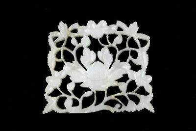 Vintage Carved Nephrite Jade Plaque with Floral Design