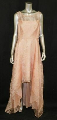 JESSICA HOWARD NWT Pink Floral Patterned Overlay Hi-Low Evening Dress sz 12 $160