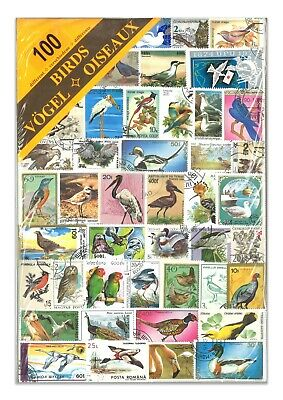 100 Different Birds Used Stamps Thematic Window Display Packet