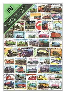 100 Different Trains Railways Used Stamps Thematic Window Display Packet