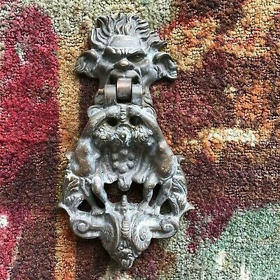 20TH CENTURY VINTAGE CHERUB GARGOYLE brass DOOR KNOCKER MEDICI FAMILY CREST
