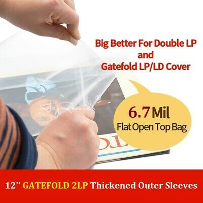 30PCS Flat Open Top Bag Vinyl Record Thicken Outer Sleeves 12'' Gatefold 2LP 3LP