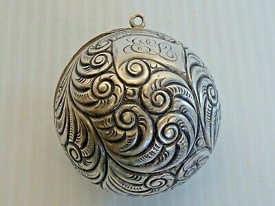 Sterling Hinged Thread Spool Ball W/ Ring For Chatelaine, Repousse Swirl Design