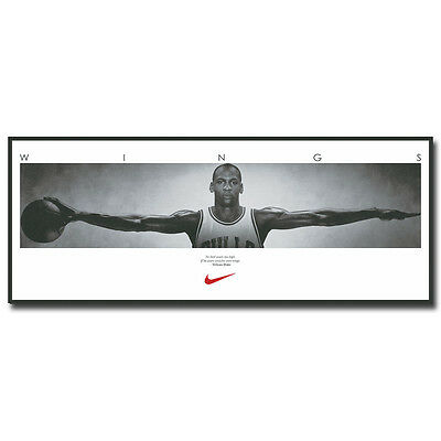 Michael Jordan Wings with one Basketball Sport Fabric Poster Print 12x38 inch