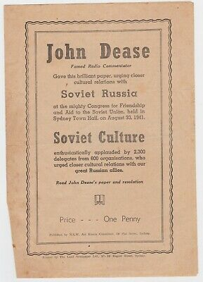 WWII Aid Russia political Pamphlet by John Dease Australian Communist Party 1941