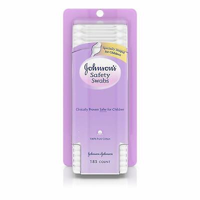 Johnson's Safety Ear Swabs, Non-Chlorine Bleached Cotton, 185 Count, 2 Pack
