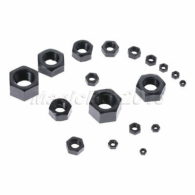 100PCS Nylon Hex Lock Nuts Fastening Accessory Screw Assortment Kit Black M2-M12