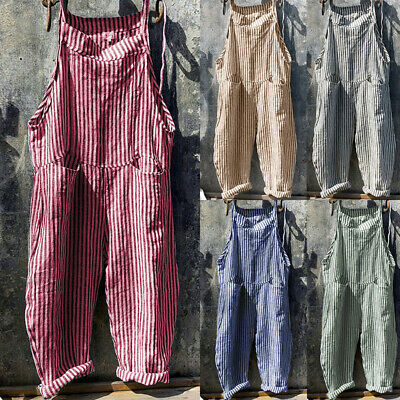 Women Loose Stripe Overalls Dungarees Ladies Casual Wide Leg Jumpsuit Playsuit