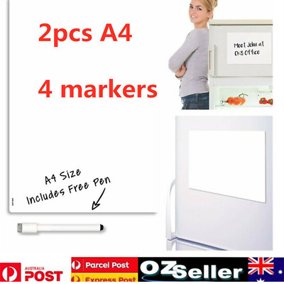 2Set A4 Magnet Fridge Whiteboard BlankCalender Monthly Weekly Planner+4Pens