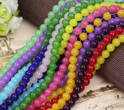 4--14mm Color imitation jade glass round beads DIY Jewelry Accessories