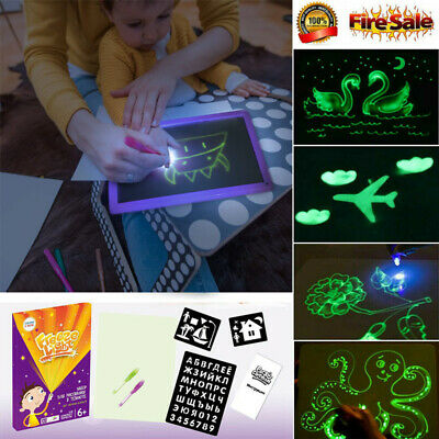 AU A4 Draw With Light In Darkness Children Sketchpad Toys Luminous Drawing Board