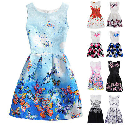 Womens Kids Girls Parent-Child Sleeveless Butterfly A-line Skater Party Dress TP