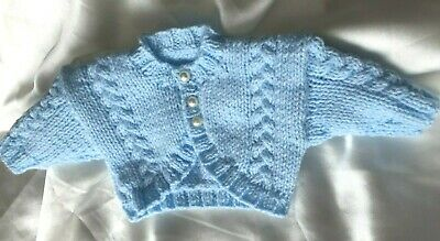 Brand New Hand Knitted Cardigan In Blue (Newborn/Prem)
