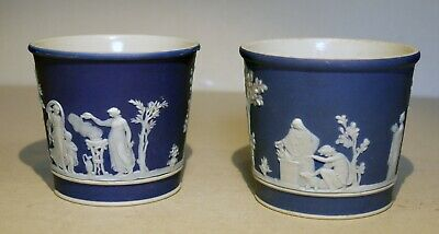 Antique Wedgwood Blue dipped Jasperware pair of small Planters