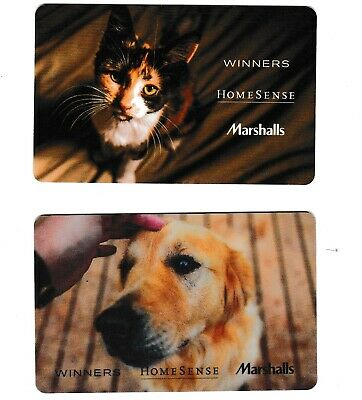 2 collectible WINNERS MARCHALLS HOMESENCE 🐶🐱🐕🐈 CAT DOG gift card Canada