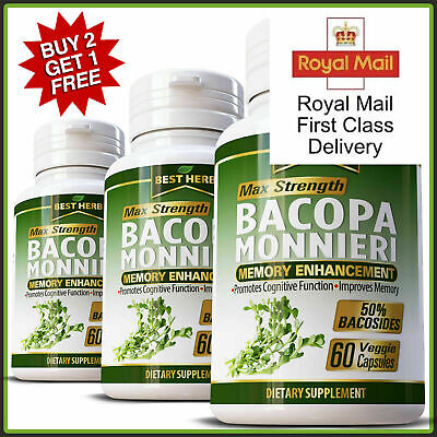Brain Supplement Memory Booster Increases Focus Clarity BACOPA MONNIERI EXTRACT