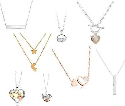 Ladies Necklace, Silver Rose Gold Plated, Sterling Silver, Heart Star You Choose