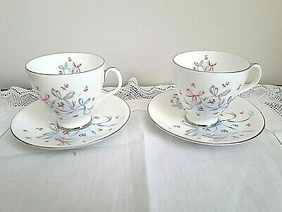 Sweet Royal Albert 'Buttons & Bows' 2 Coffee Cups & Saucers - Bone China England