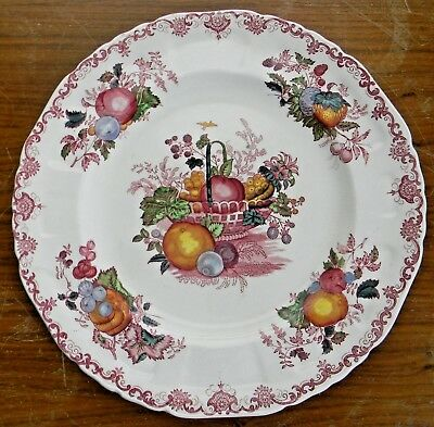 "Vintage MASON'S Patent Ironstone FRUIT BASKET 10-3/8"" DINNER PLATE Red Masons"