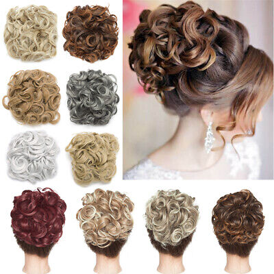 Lady Messy Bun Hairpiece Scrunchie Hair Extension Curly THICK Blonde Chignon UK