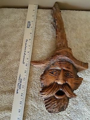Hand Carved Wood Man With Beard & Mustache 16 In.
