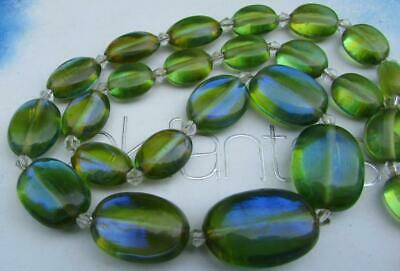 Art Deco Iridescent Green  Dragons Breath  Glass Beads Necklace