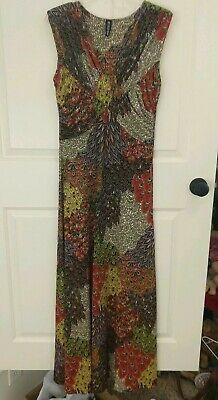 Mt Collection Dress Tribal Hippie Boho Feather Peacock Women's L flowy maxi