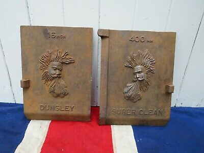 Two Quirky British Dunsley Advertisement Logo Cast Iron Metal Plates